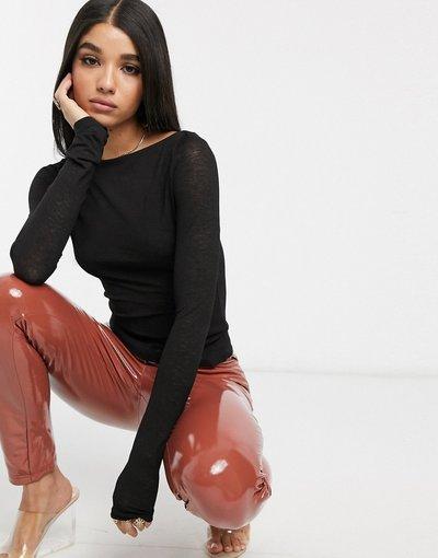 T-shirt Nero donna Top a maniche lunghe con scollo a barchetta in jersey nero - KD - NA