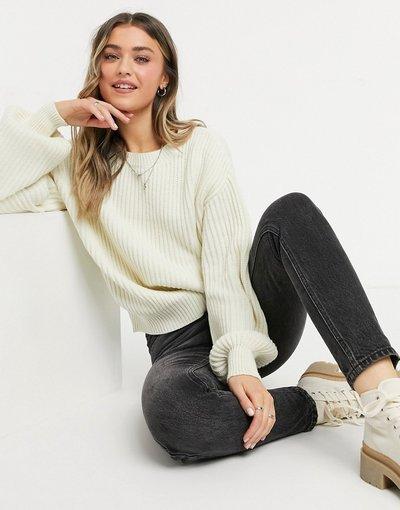 Bianco donna Maglione oversize lavorato a maglia bianco sporco - KD x Matiamu by Sofia - NA