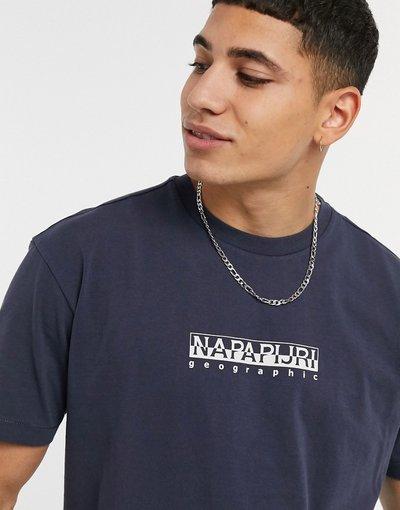 T-shirt Blu navy uomo shirt blu navy con logo quadrato - Napapijri - T