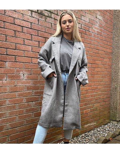 Grigio donna Cappotto lungo comodo con tasche applicate - Native Youth Plus - Grigio