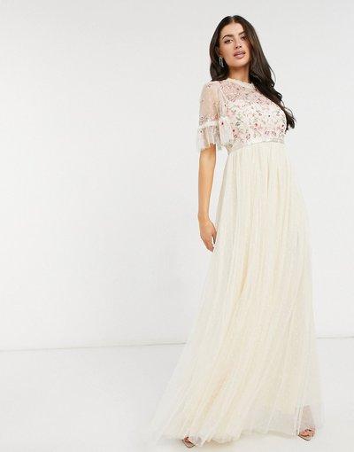Crema donna Vestito al polpaccio con maniche a strati color champagne decorato - Needle&Thread - Crema
