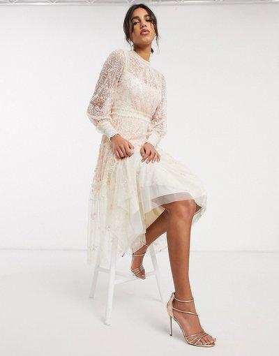 Crema donna Vestito midi a balze crema con ricami - Needle&Thread