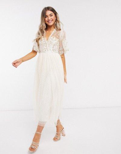 Crema donna Vestito midi a portafoglio champagne con decorazioni oro - Needle&Thread - Crema