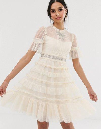 Crema donna Vestito midi da sposa crema con fiocco decorativo - Needle&Thread
