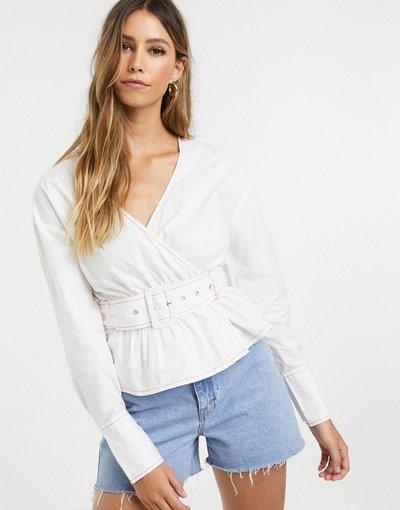 Camicia Bianco donna Blusa a portafoglio con cintura - Neon Rose - Bianco