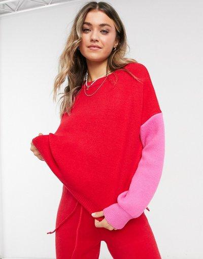 Rosso donna Maglione lavorato rosso con maniche a contrasto in coordinato - Never Fully Dressed