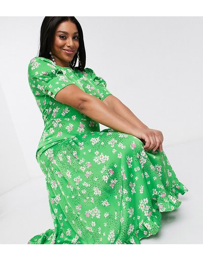 Verde donna Vestito lungo a maniche corte verde a fiori con fondo a volant - Never Fully Dressed Plus