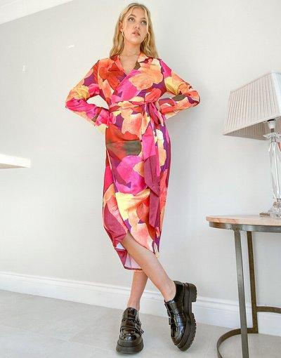 Multicolore donna Vestito midi avvolgente in raso con stampa con stampa astratta a pennellate - Never Fully Dressed - Multicolore