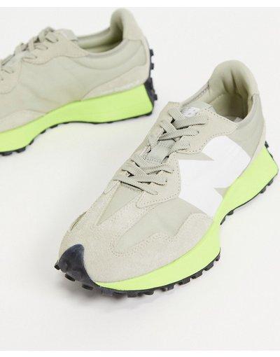 Stivali Beige uomo Sneakers grigio quercia e giallo limone - New Balance - 327 - Beige