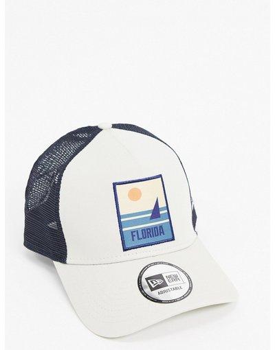 Cappello Pietra uomo Berretto trucker grigio pietra con tramonto ricamato - New Era