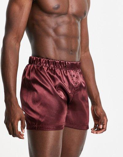Intimo Rosso uomo Boxer in raso bordeaux - New Look - Rosso