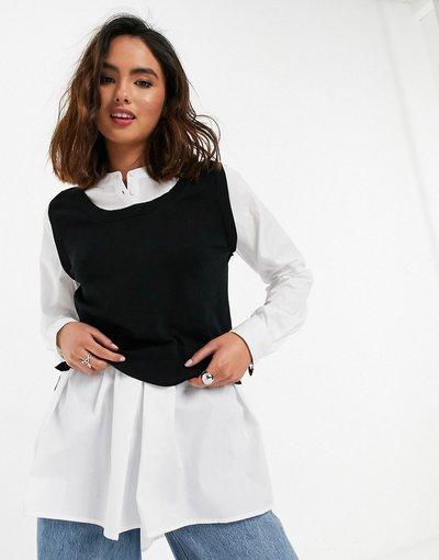 Nero donna Camicia con maniche voluminose e canotta in maglia 2 in 1 nera - New Look - Nero