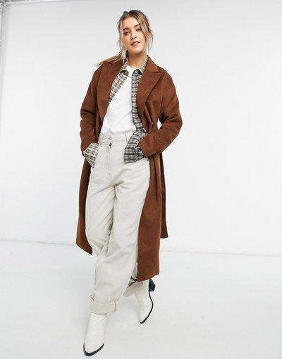 Cuoio donna Cappotto lungo color cuoio con cintura - New Look