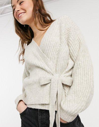 Maglione cardigan Beige donna Cardigan in maglia a portafoglio allacciato stile ballerina color avena - New Look - Beige