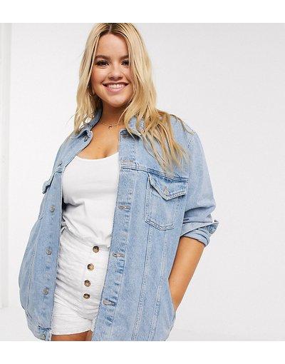 Blu donna Giacca oversize di jeans azzurra - New Look Curve - Blu