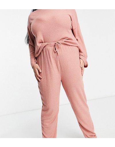 Pigiami Rosa donna Joggers a coste rosa chiaro - New Look Curve