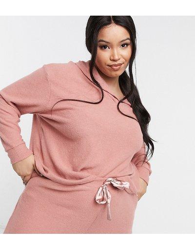 Pigiami Rosa donna Top morbido da casa con cappuccio a coste rosa - New Look Curve