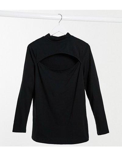 T-shirt Nero donna Top nero con collo alto e cut - New Look Curve - out frontale
