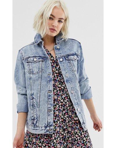Blu donna Giacca di jeans lavaggio acido - New Look - Blu
