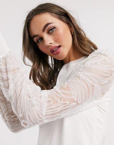 Bianco donna Maglione bianco con maniche in organza - New Look