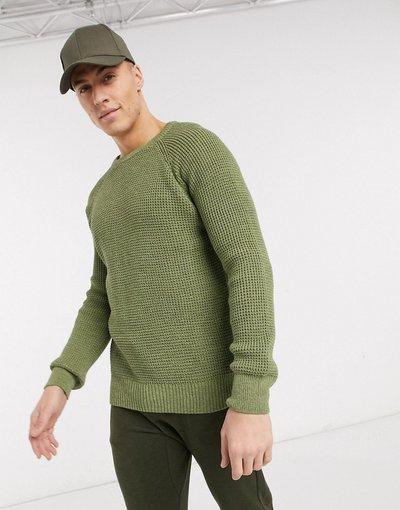 Verde uomo Maglione con lavorazione a punto trattenuto e maniche raglan kaki - New Look - Verde