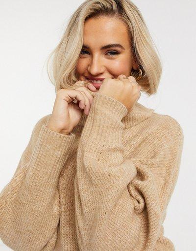 Beige donna Maglione extra ampio con collo alto color cammello - New Look - Beige