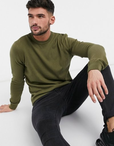 Verde uomo Maglione girocollo basic kaki scuro - New Look - Verde
