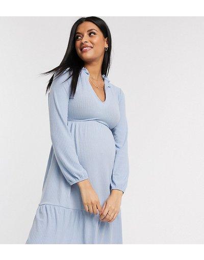 Maternita Blu donna Vestito grembiule a strati a coste con scollo a V blu pallido - New Look Maternity