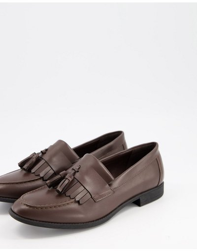 Scarpa elegante Marrone uomo Mocassini con nappe marrone scuro - New Look