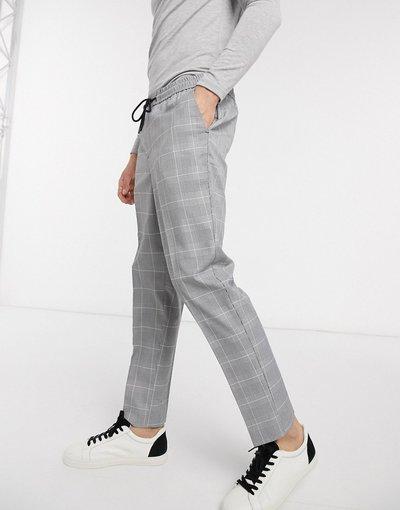 Grigio uomo on slim grigio a quadri - Pantaloni easy - New Look