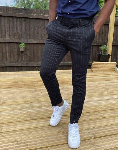 Navy uomo Pantaloni gessati blu navy - New Look