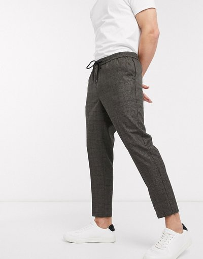Marrone uomo Pantaloni marroni a quadri tono su tono - New Look - Marrone