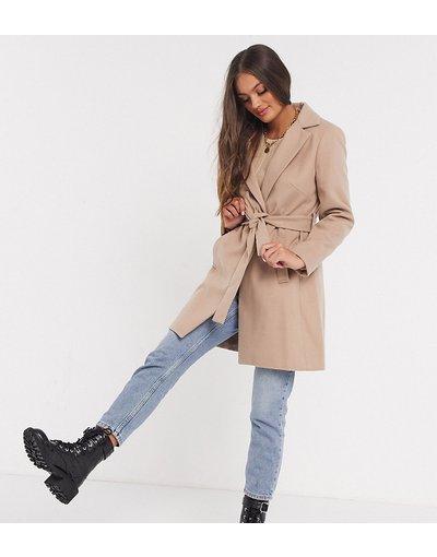 Marrone donna Cappotto color cammello con cintura - New Look Petite - Marrone