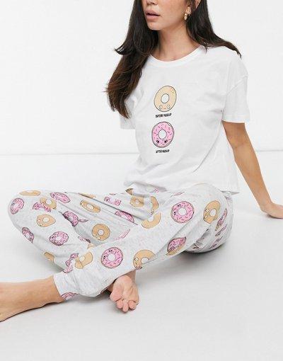 Pigiami Bianco donna Pigiama bianco con stampa di ciambelle - New Look