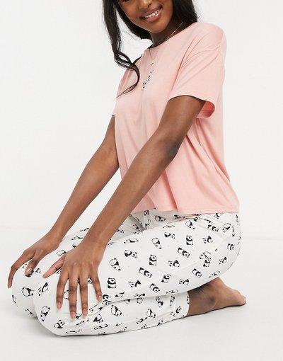 Pigiami Rosa donna Pigiama rosa medio con panda e scritta - New Look