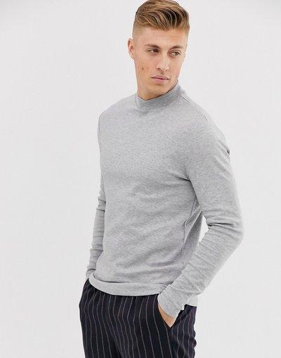 T-shirt Grigio uomo shirt grigio mélange con collo alto e maniche lunghe - New Look - T