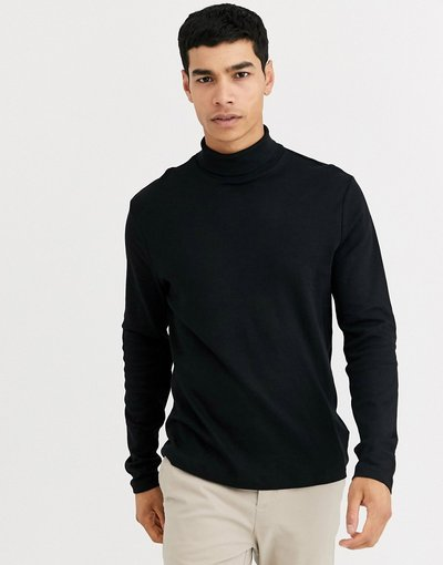 T-shirt Nero uomo shirt nera con maniche lunghe e collo alto - New Look - Nero - T