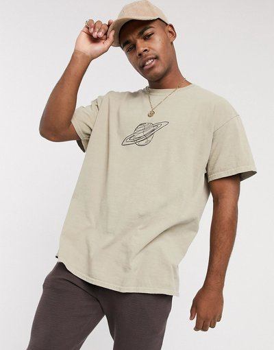 T-shirt Pietra uomo shirt oversize con stampa stilizzata di Saturno grigio pietra - New Look - T