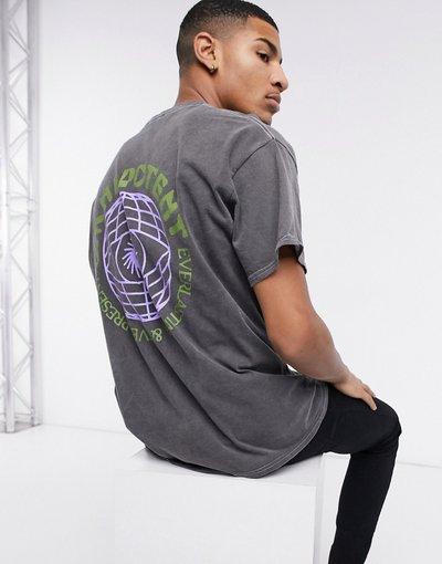 T-shirt Nero uomo shirt oversize grigia con globo sul retro - New Look - Nero - T