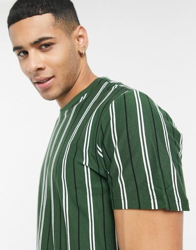 T-shirt Verde uomo shirt oversize verde scuro a righe - New Look - T