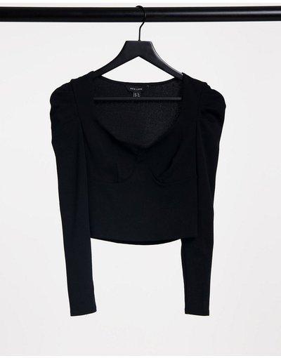 T-shirt Nero donna Top a bustino con dettagli con cuciture e maniche arricciate nero - New Look