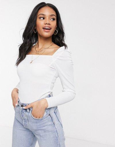 T-shirt Crema donna Top con maniche a sbuffo e scollo quadrato crema - New Look