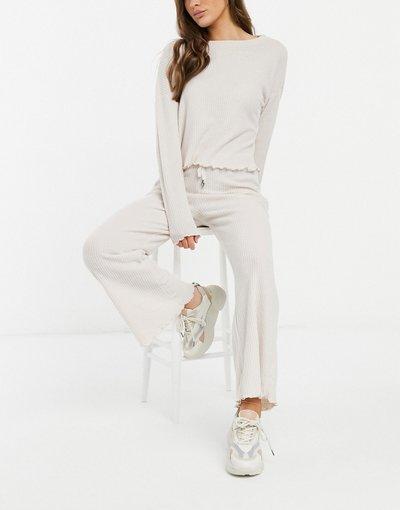Pigiami Bianco donna Top da casa in tessuto piqué color crema in coordinato - New Look - Bianco