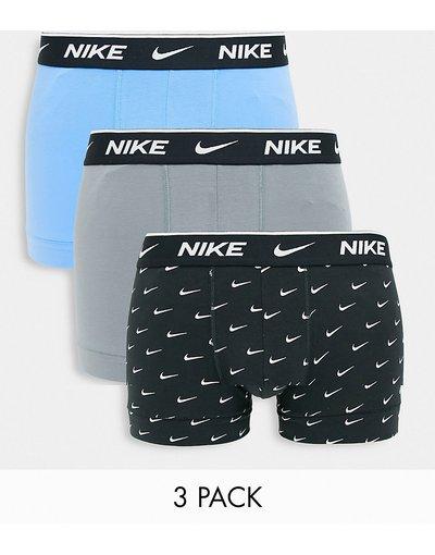 Intimo Multicolore uomo Confezione da 3 boxer aderenti in cotone elasticizzato nero, grigio e blu - Multicolore - Nike