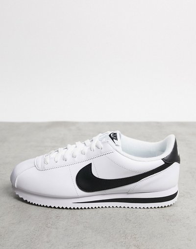 Stivali Bianco uomo Sneakers bianche in pelle con logo Nike nero - Cortez - Bianco - Nike