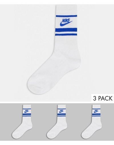 Intimo Bianco uomo Confezione da 3 paia di calzini bianchi/blu - Nike Essentials - Bianco
