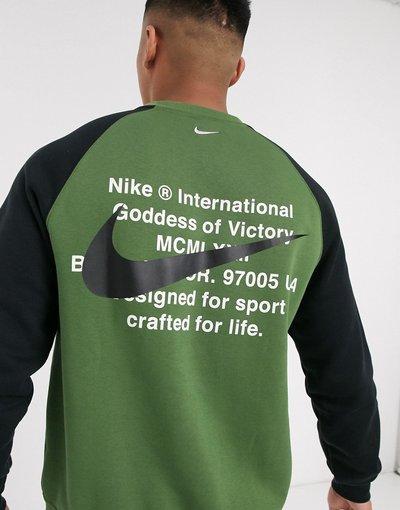 Felpa Verde uomo Felpa girocollo kaki con logo Nike - Nike - Verde