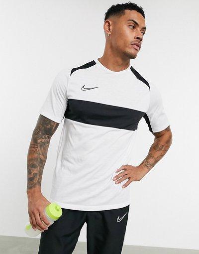 T-shirt Bianco uomo shirt con riga sul petto, colore bianco - Nike Football - Academy - T