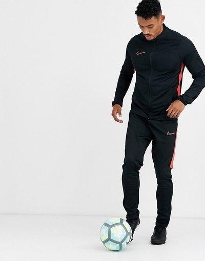Calcio Nero uomo Tuta sportiva nera con riga laterale rossa - Nike Football - Academy - Nero