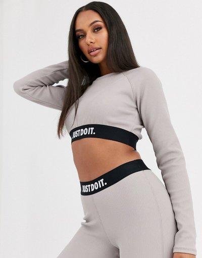 T-shirt Grigio donna Top corto a maniche lunghe e a coste grigio - Just Do It - Nike
